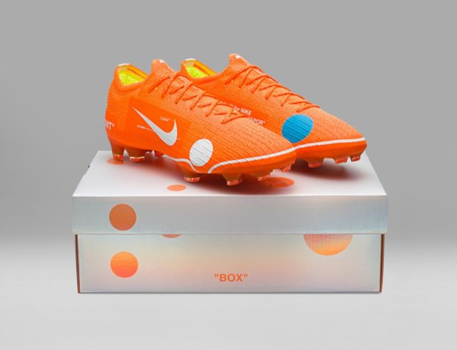 Off White Nike Vapor 12 Elite SE FG Orange Cleats Nike Off White Soccer Cleats